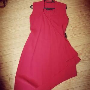 Red asymmetrical wrap dress